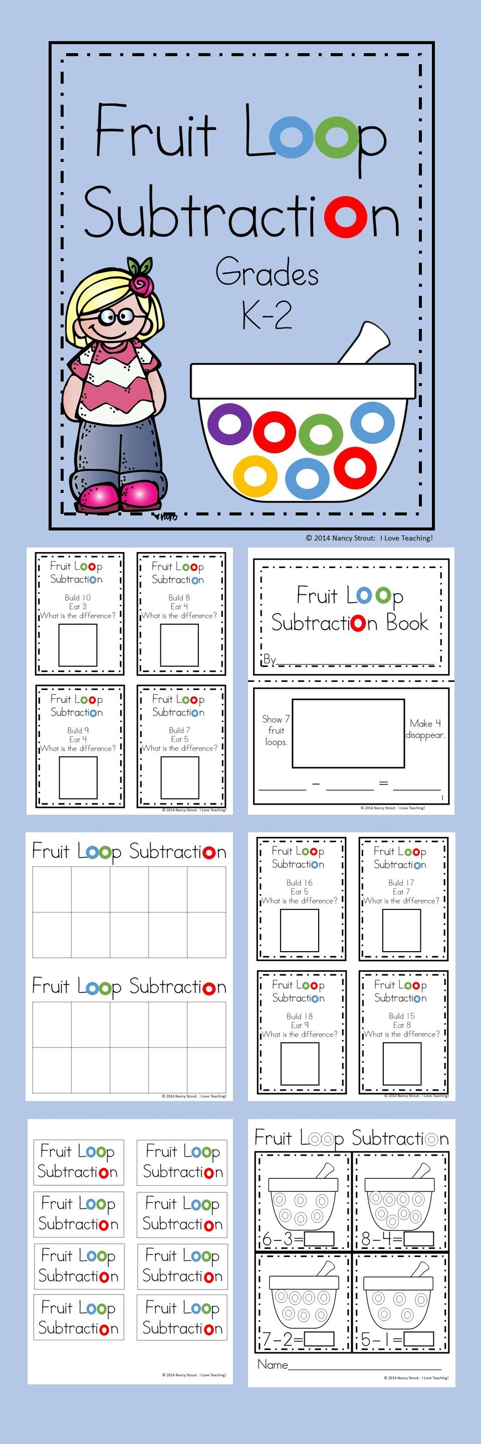 math subtraction for k and first grade printables and task cards math math subtraction. Black Bedroom Furniture Sets. Home Design Ideas