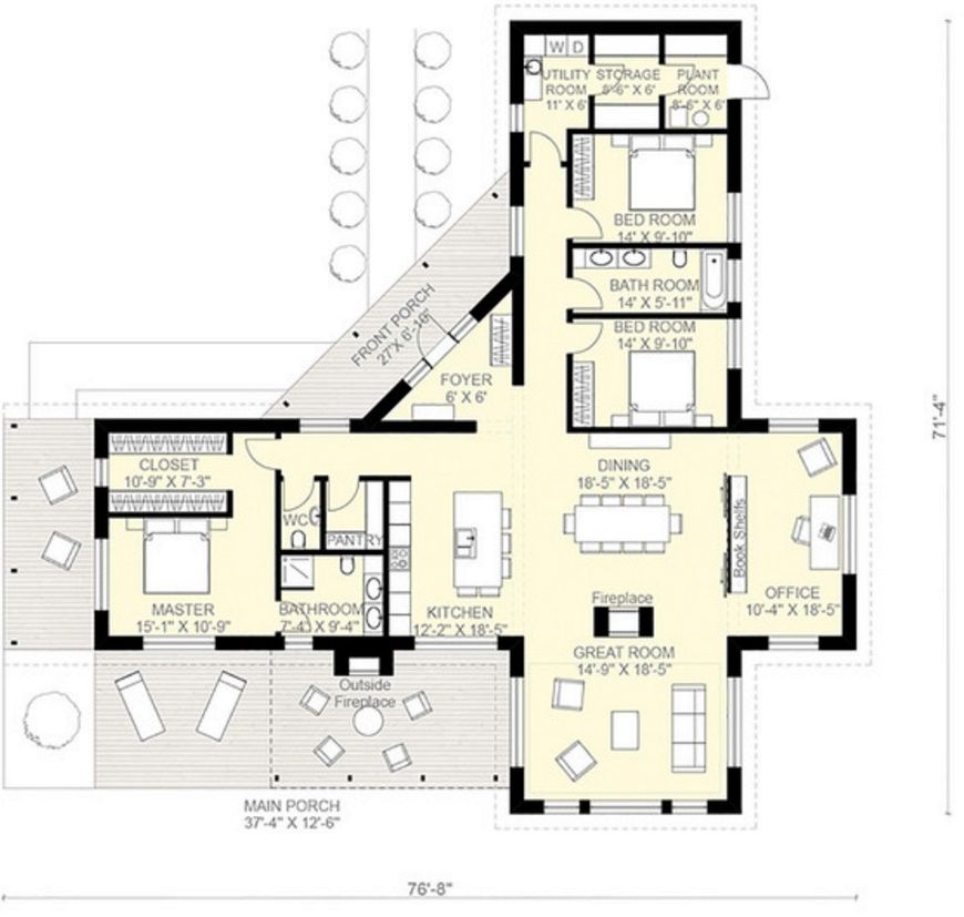 Planos de casas de una planta 3 dormitorios casas for Viviendas modernas de una planta