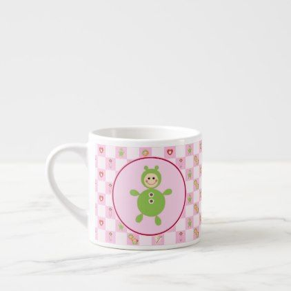 Baby Pink Checkerboard Espresso Cup - red gifts color style cyo diy personalize unique