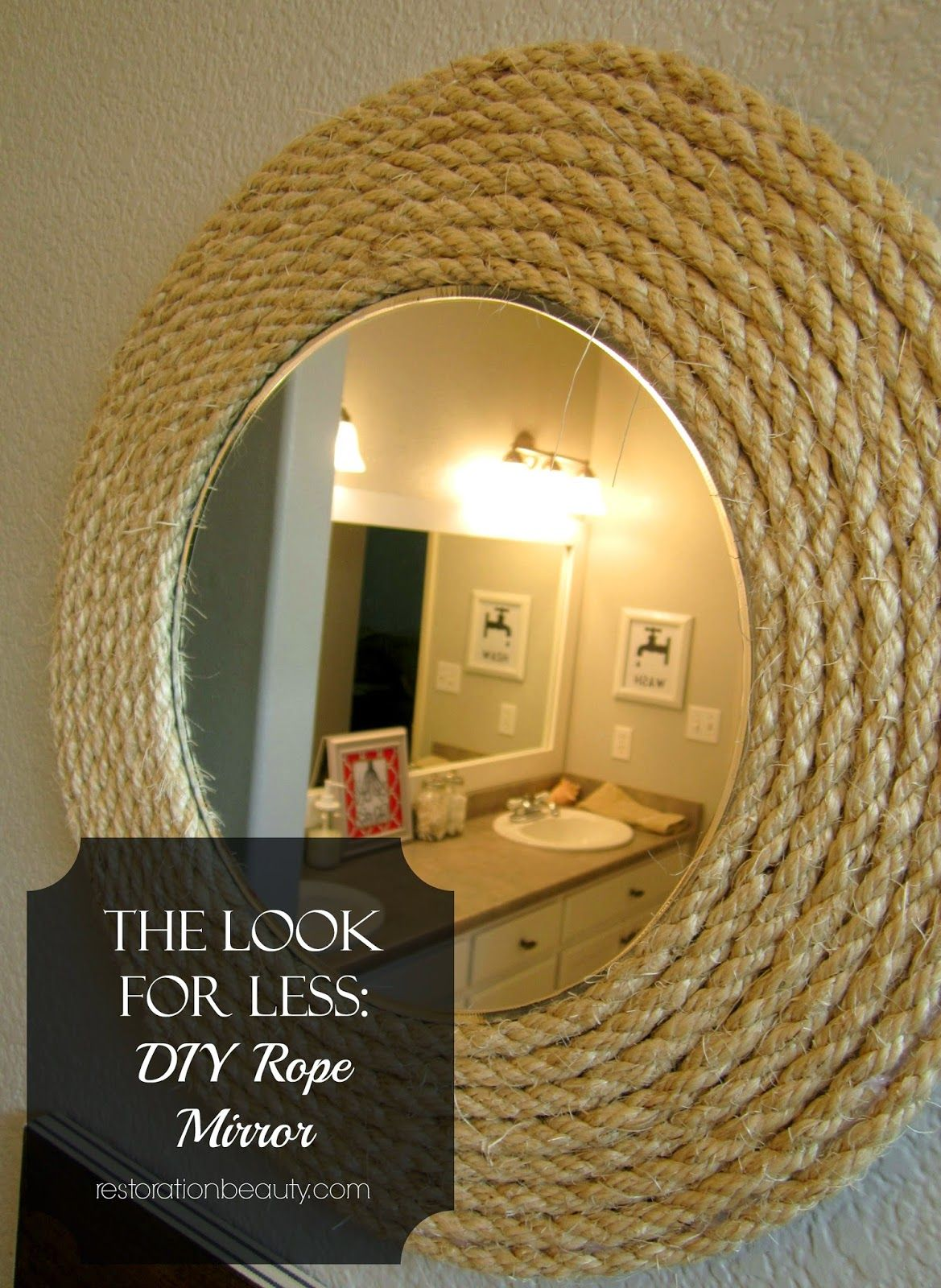 The Look For Less: DIY Rope Mirror | Cleaning solutions ...