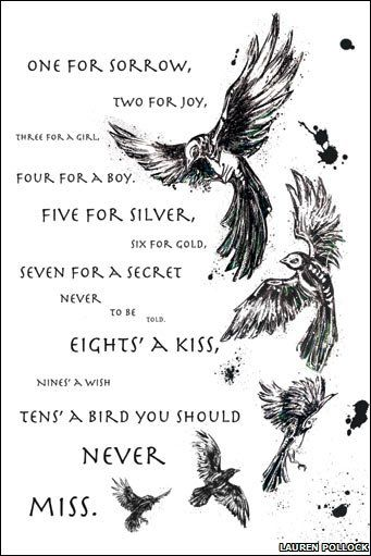 One for Sorrow is a traditional children's nursery rhyme about magpies. According to an old superstition, the number of magpies one sees determines if one will have bad luck or not. (Wikipedia)
