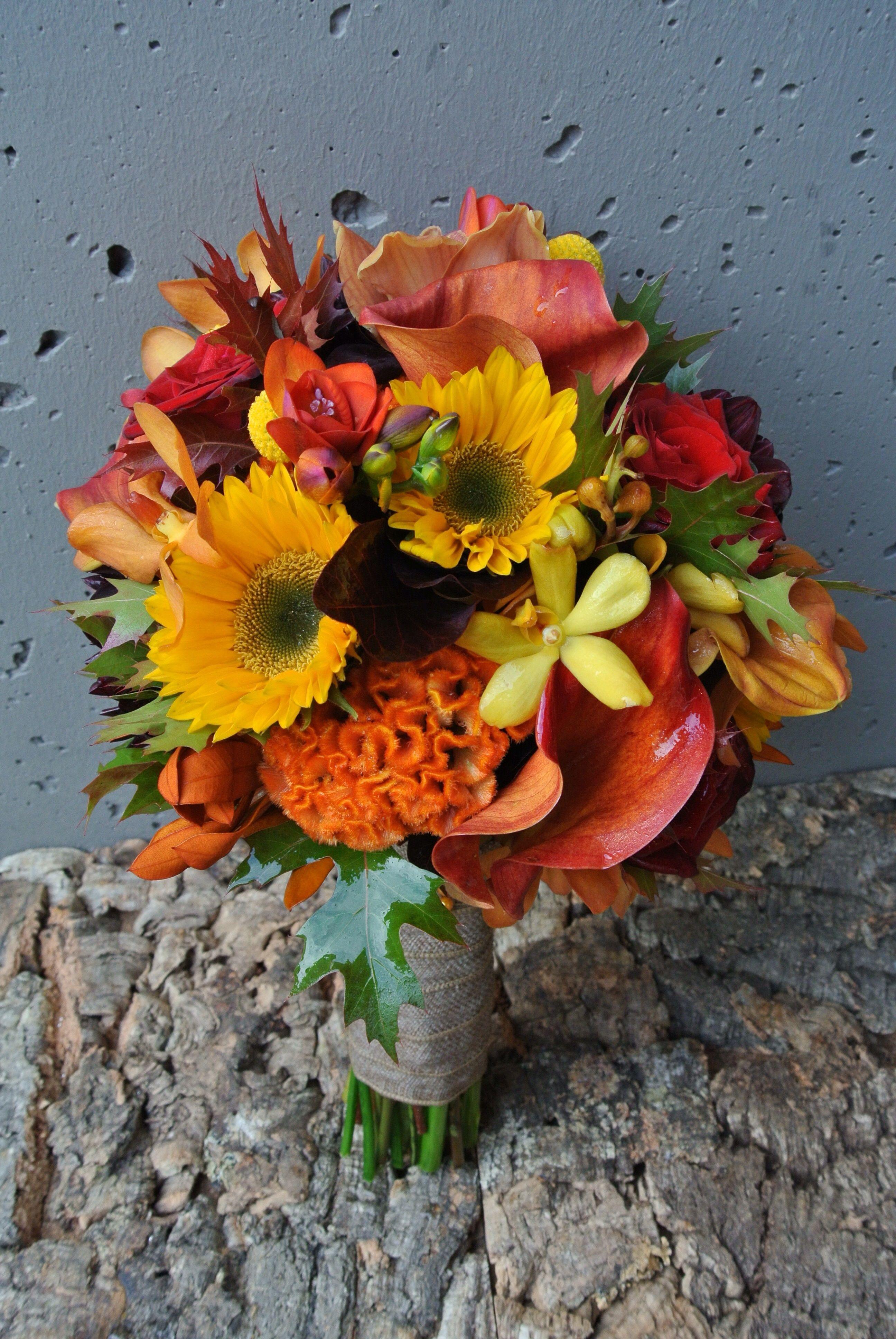 Fall Tones Featuring Sunflowers Calla Lilies Mokara Orchids