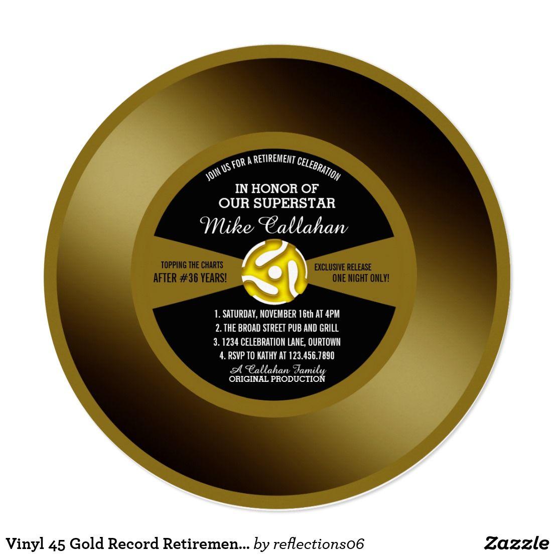 Gold Record Vinyl 45 Retirement Party Invitation Zazzle