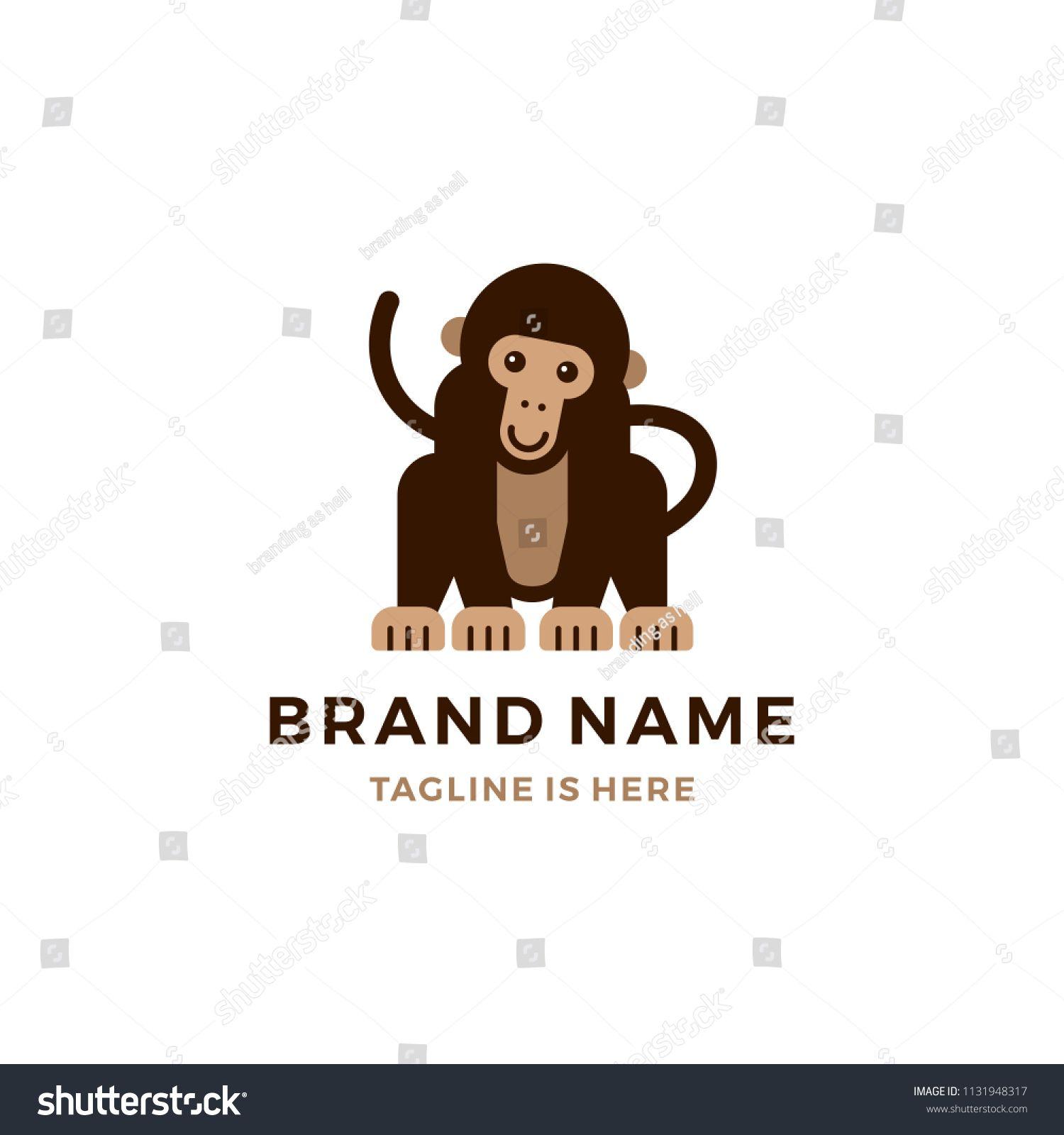77848d5e23bd monkey chimp chimpanzee logo vector cartoon icon illustration flat ...
