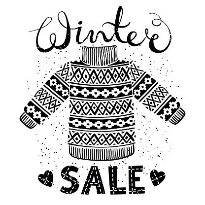 Winter Special banner, label with knitted woolen pullover or