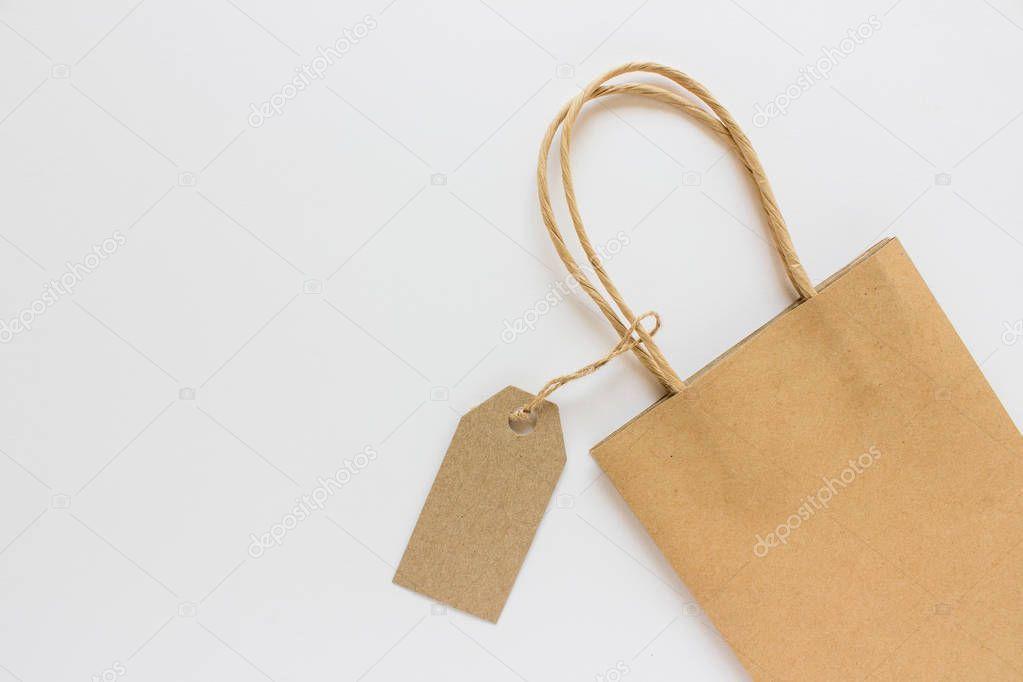 Download Blank Mockup Label Tag Kraft Paper Present Shopping Bag On White Stock Ad Tag Kraft Label Blank Ad Shopping Bag Bags Kraft Paper