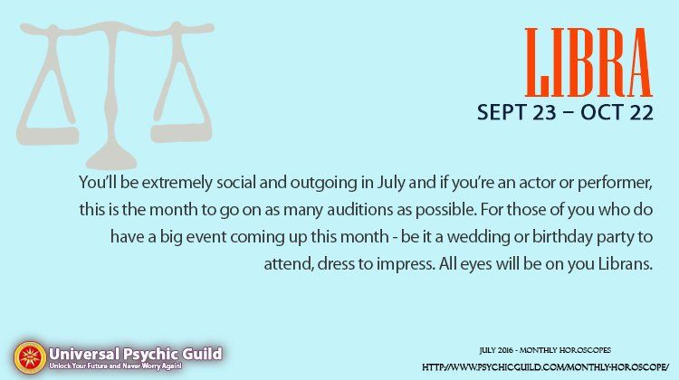 "Psychic Guild on Twitter: "" #LIBRA #MonthlyHoroscope: The heavens will play host to several inconjunct aspects in July which tend to be in the neighborhood when misunderstandings arise. That said, if you have the feeling that you and a dear one are not seeing eye to eye and you can't figure out why, table the matter until you're sure you have all the facts, figures and info in front of you."""