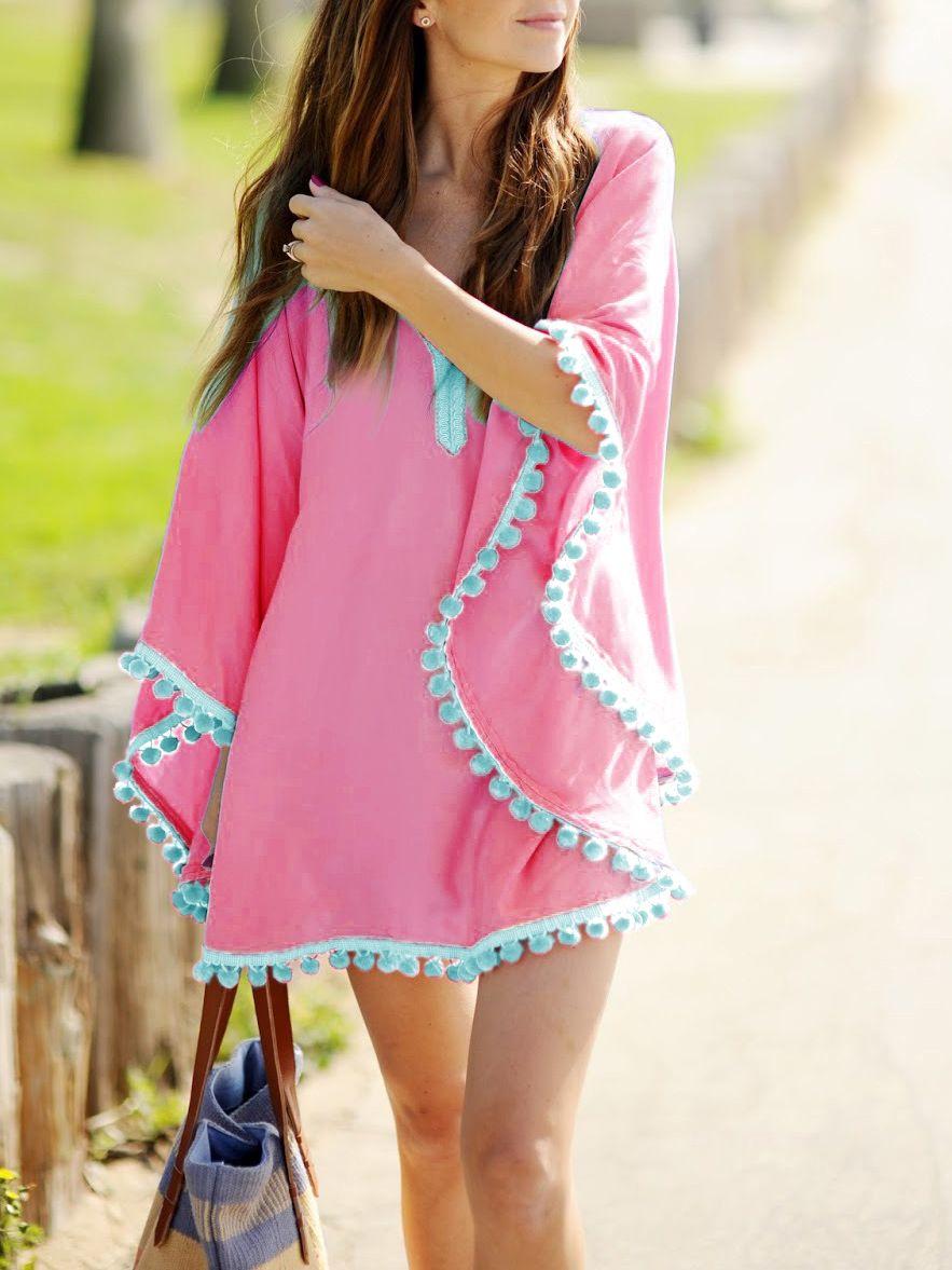 Hot pink oversize pom pom chiffon poncho cover up dress fashion