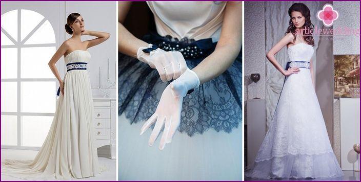 vestido de novia con un cinturón azul: bellos estilos y modelos con ...