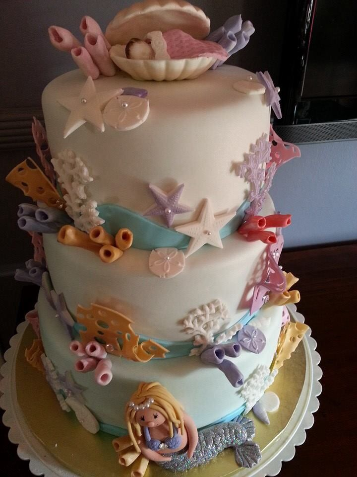 Under The Sea Themed Baby Shower Cake My Cakes Pinterest