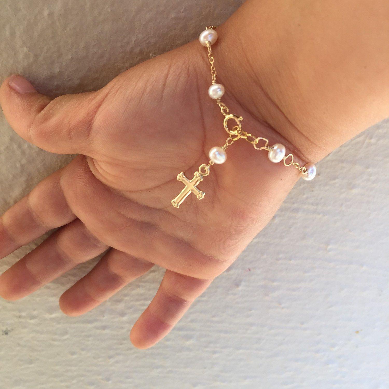 Gold baby bracelet gold cross baby bracelet gold baptism jewelry