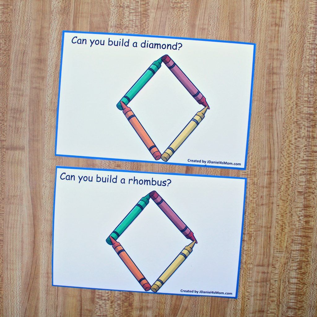 Building Shapes With Crayons Stem Task Cards For Kids