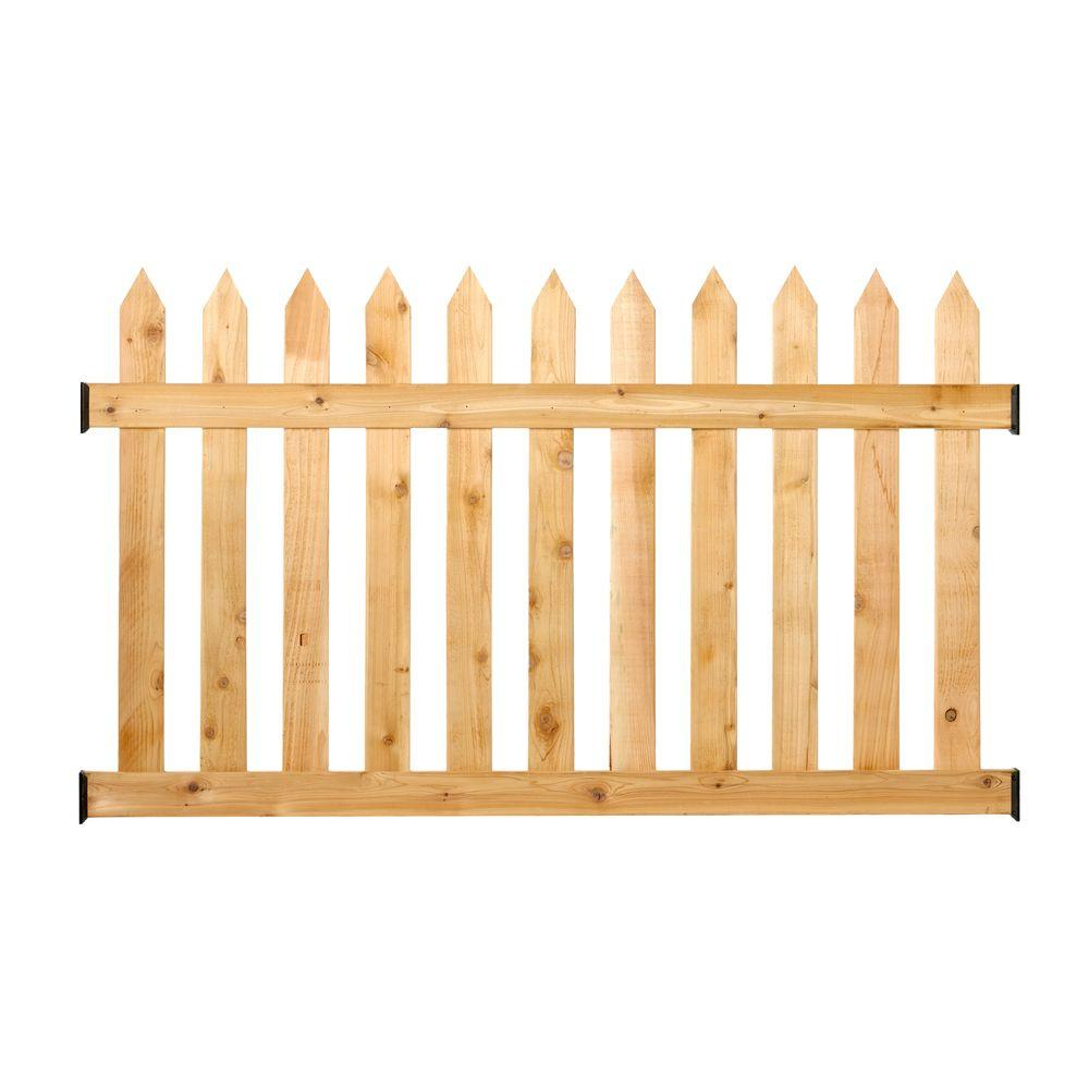 Outdoor Essentials 3 1 2 Ft H X 6 Ft W Cedar Spaced Picket Routed Fence Panel Kit Brown Fence Panels Picket Fence Panels Cedar Wood Fence
