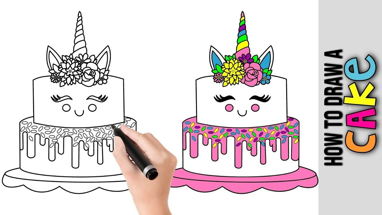 How To Draw A Unicorn Cake Cute Easy Drawings Tutorial For