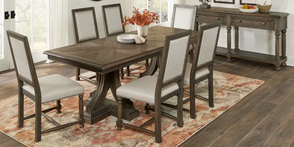 Cindy Crawford Home Calle Vista Brown 7 Pc Dining Room Rooms To Go Rustic Dining Table Cindy Crawford Home Rooms To Go