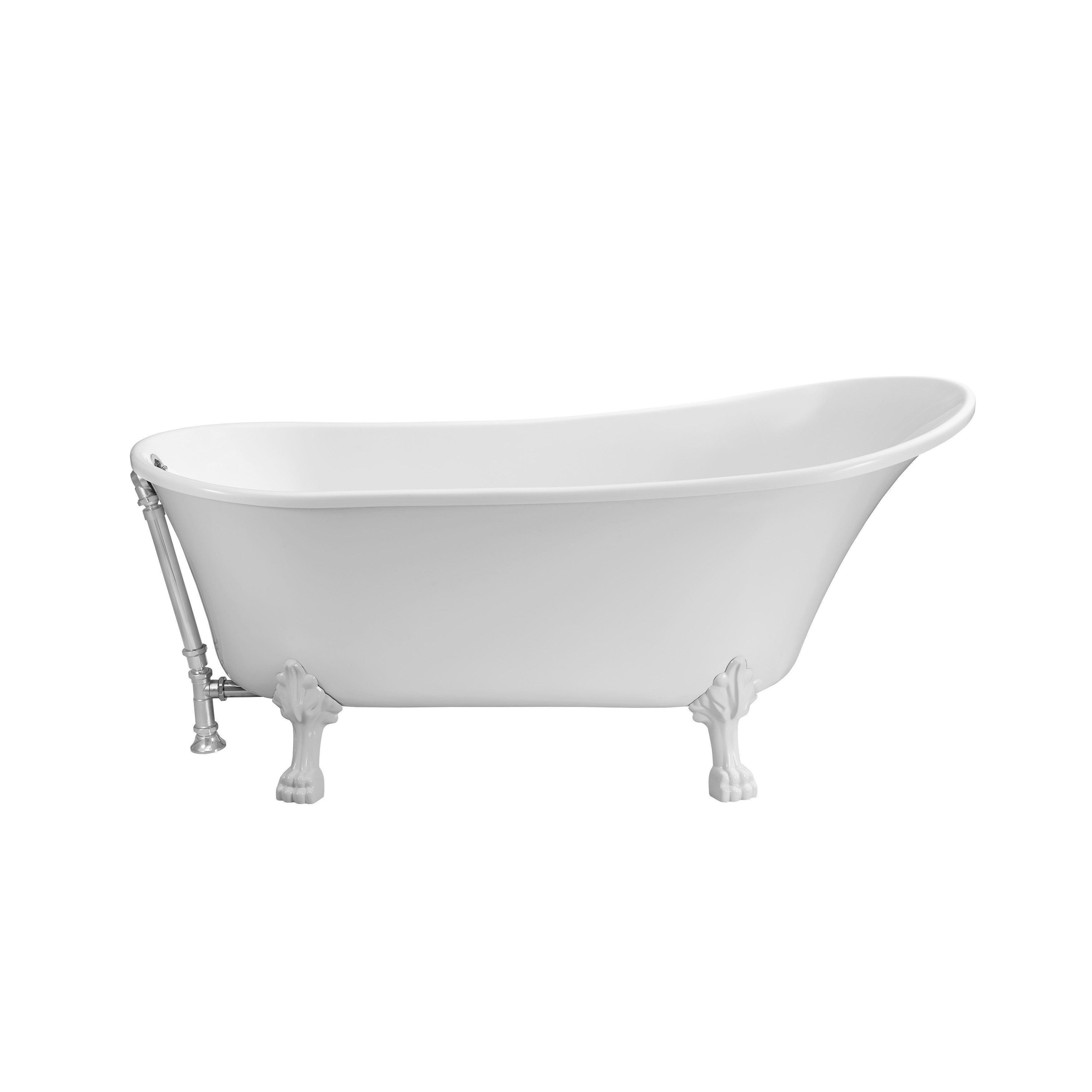Streamline White 67-inch Soaking Clawfoot Tub with Silvertone ...
