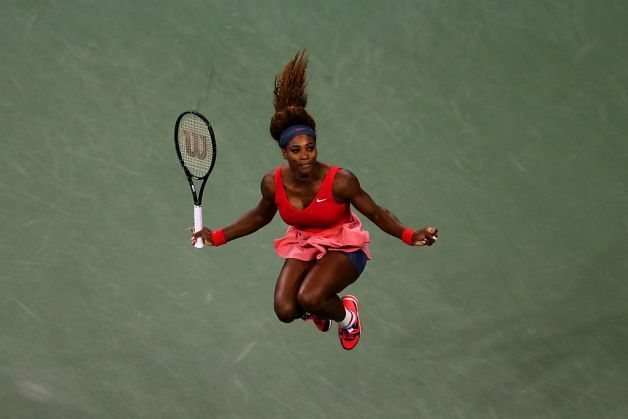 Serena Williams celebrates with a jump after winning her 17th major title and fourth in her past six Grand Slam events. Photo: Matthew Stockman, Getty Images