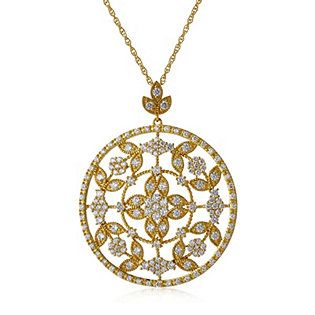 Diamonique by Tova 2.5ct tw Floral Pendant & 45cm Chain Sterling Silver 74st
