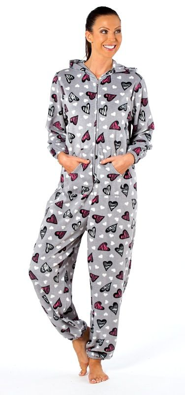 Heart Print Onesie - Ladies Really soft onesie with a kangaroo pocket. Also available in Pink. Sizes 10-20 Only £23