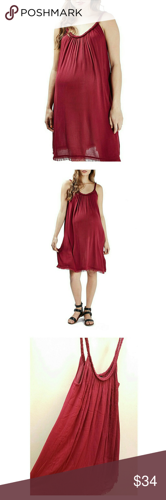 """TOPSHOP Maternity Braided Trim Swing Dress New with Tags Topshop Maternity soft and breezy swing style maternity sundress. Beautiful braided trim along neckline and raw hem. Oversize fit for comfort.   US 6 (UK 10)   Length 37.5"""" / Underarm to Underarm 16""""   100% Viscose  Open to REASONABLE OFFERS Topshop MATERNITY Dresses"""