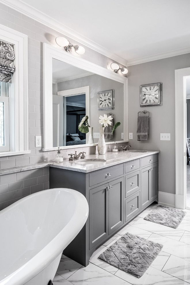 The grey cabinet paint color is benjamin moore kendall for Charcoal bathroom accessories