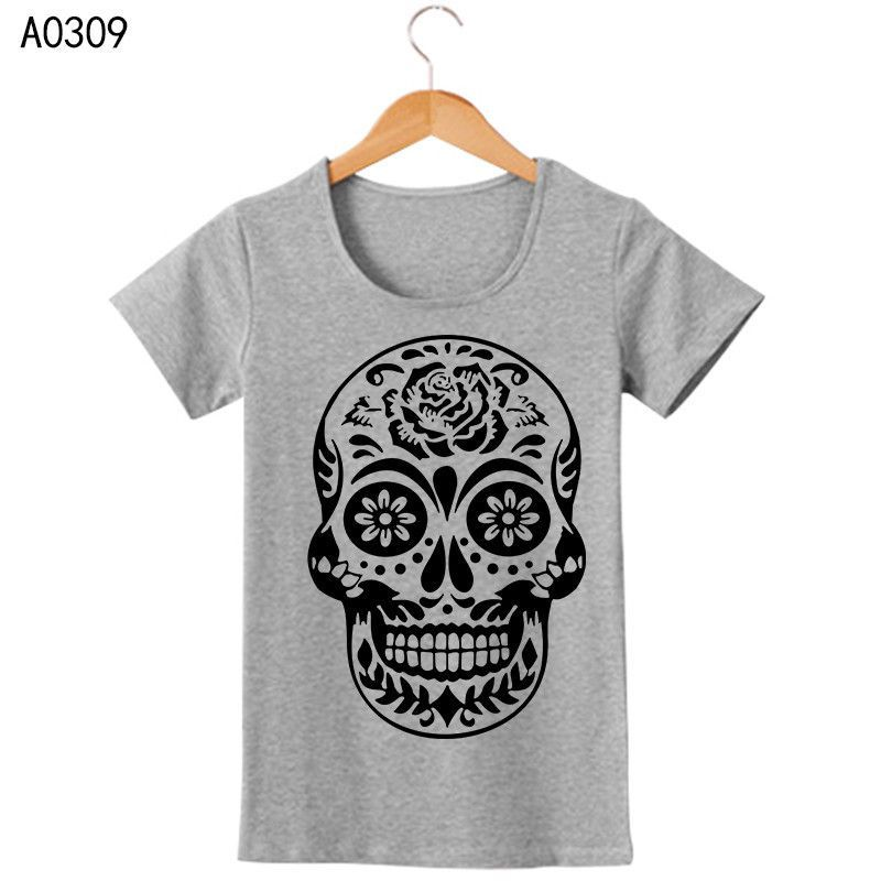 New Female Clothing Skull Flower Printing Cotton Womens T Shirts O Neck Short Sleeve Women T-Shirt Free Shipping Woman Tees