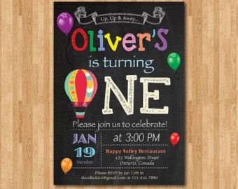 hot air balloon birthday invitation up up and away