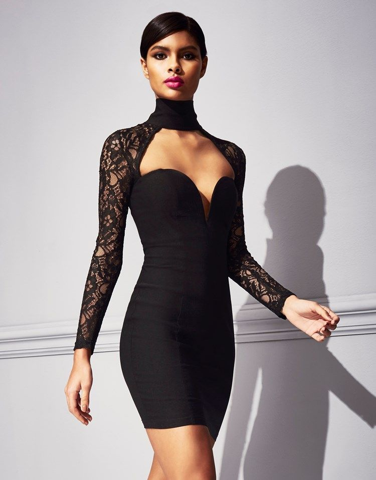 8841636690016 Stunning sweetheart neckline mini dress from Rare  featuring long sleeve  lace and high neck detailing. Make a statement at your next event and team  with ...
