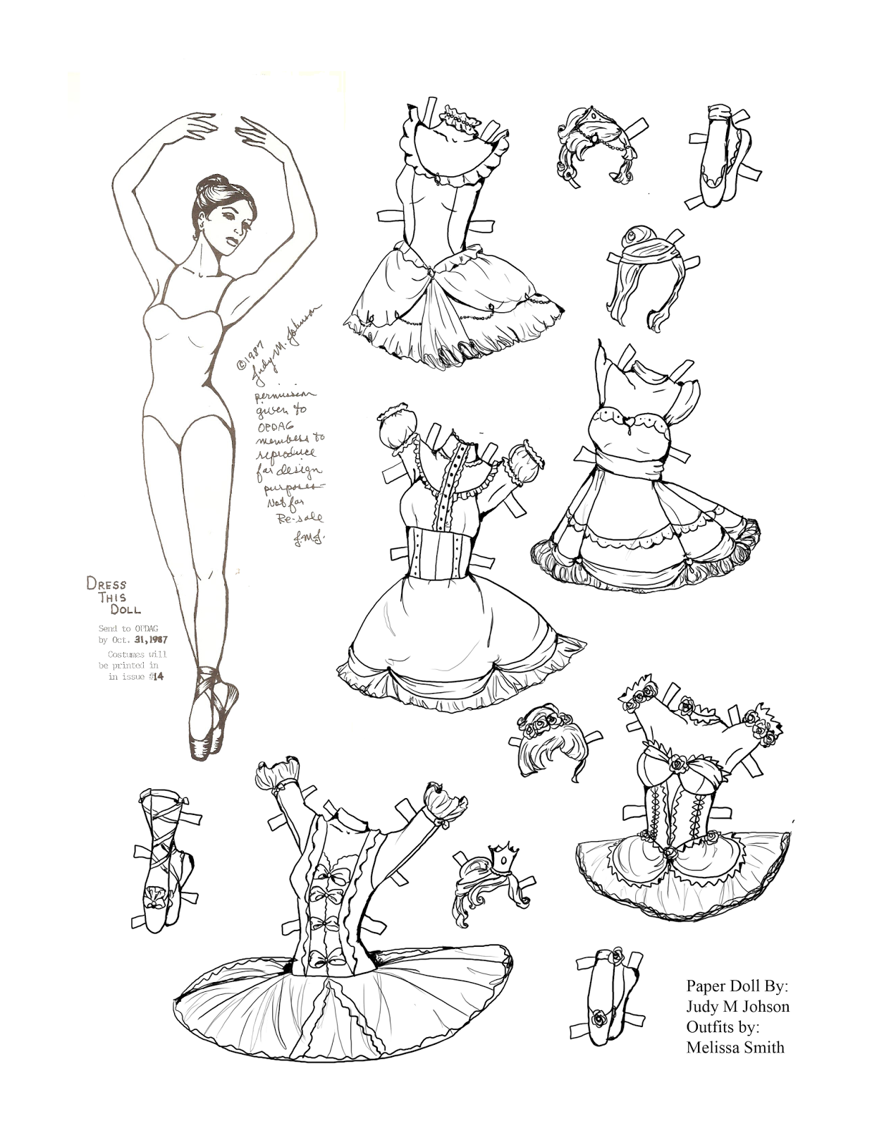 Pin On Paper Doll Black White