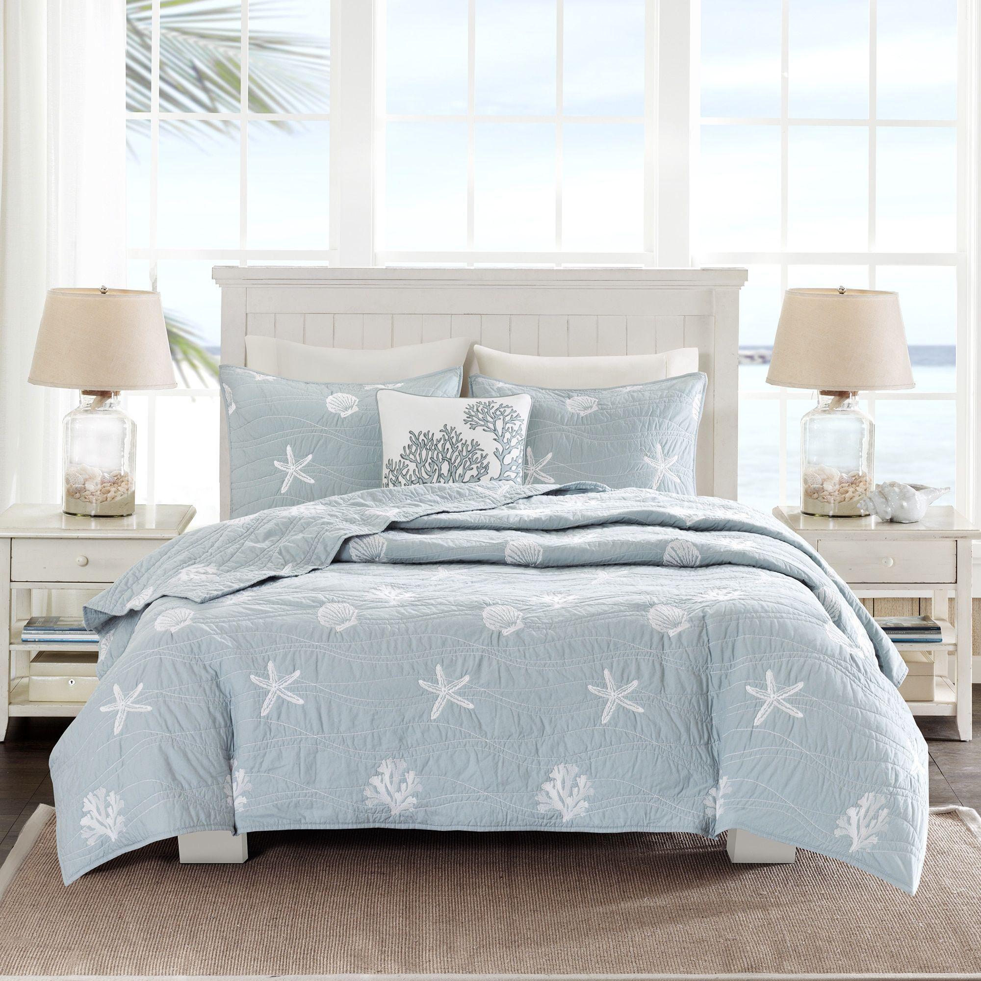 Beach Shell Starfish Grey Brown Blue Quilt Coverlet Cal King Queen 3 pcs set