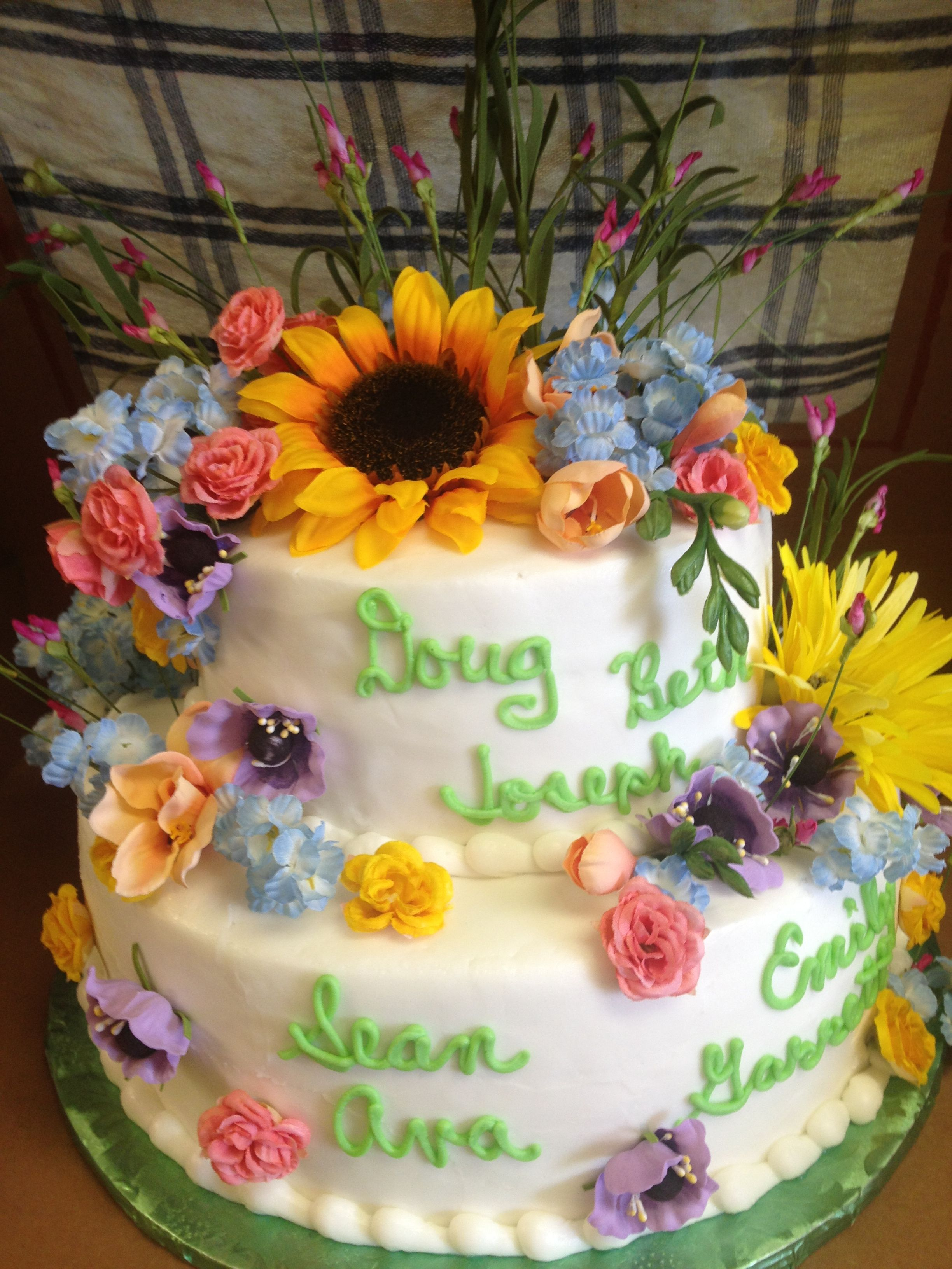 Floral cake decorated in buttercream.