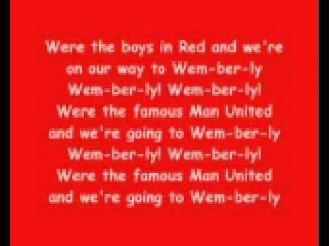 Glory Glory Man United With Lyrics Man United Songs Manchester United