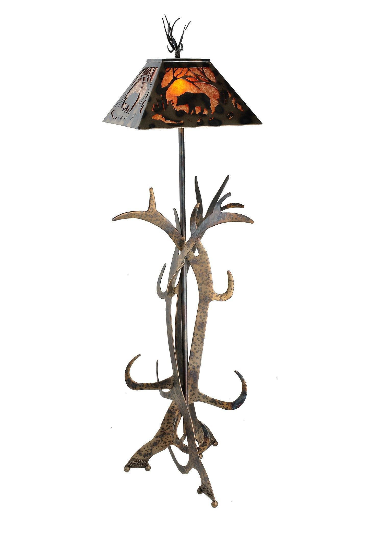 Rustic floor lamp w mica shade forged steel antler base all rustic floor lamp w mica shade forged steel antler base geotapseo Choice Image