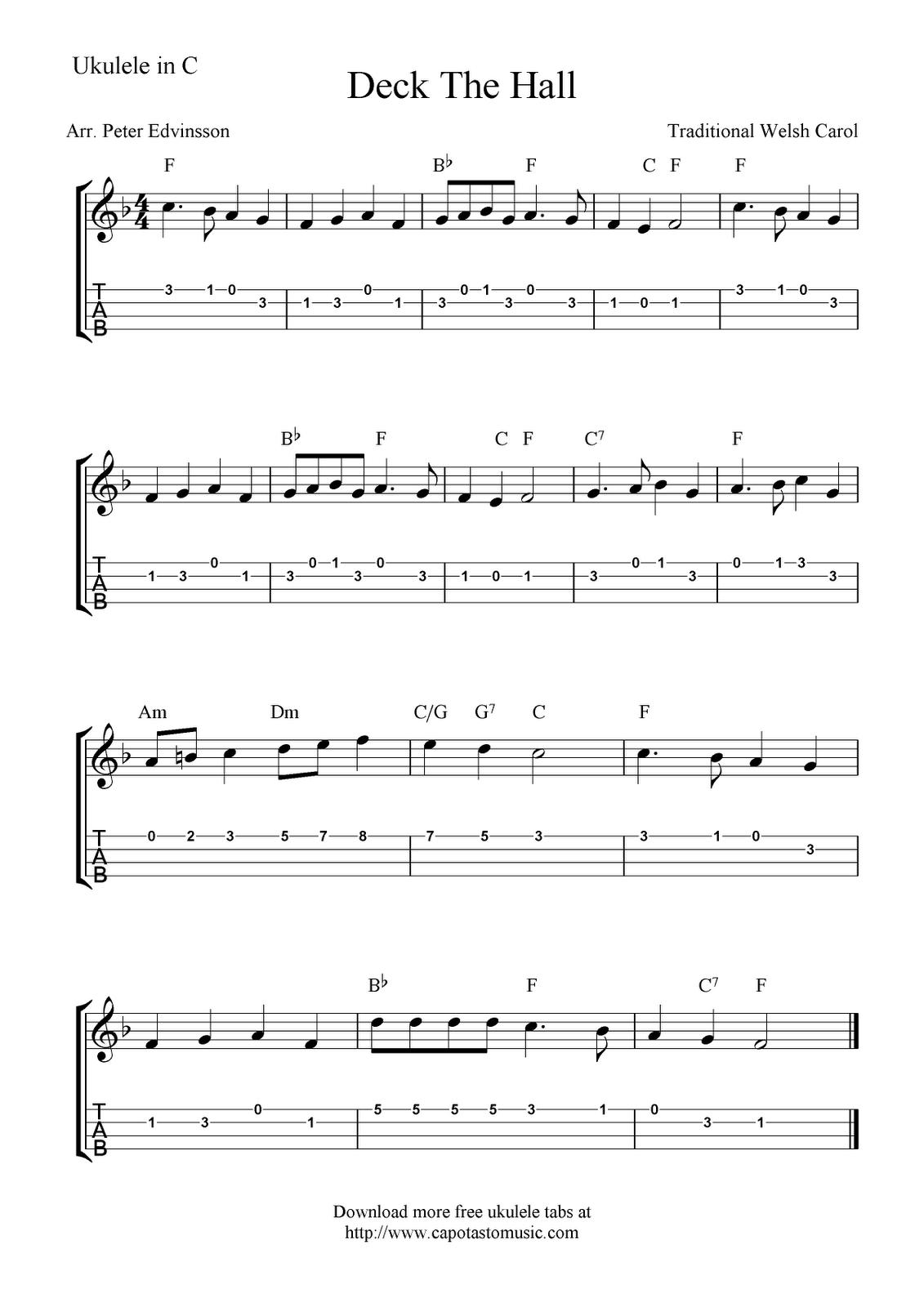 """Deck the Halls"" (Title Says ""Deck The Hall) Ukulele Sheet Music - Free Printable   Ukulele ..."