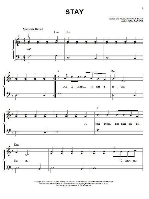Stay Rihanna Piano Sheet Music Partition Musique Partition Musique
