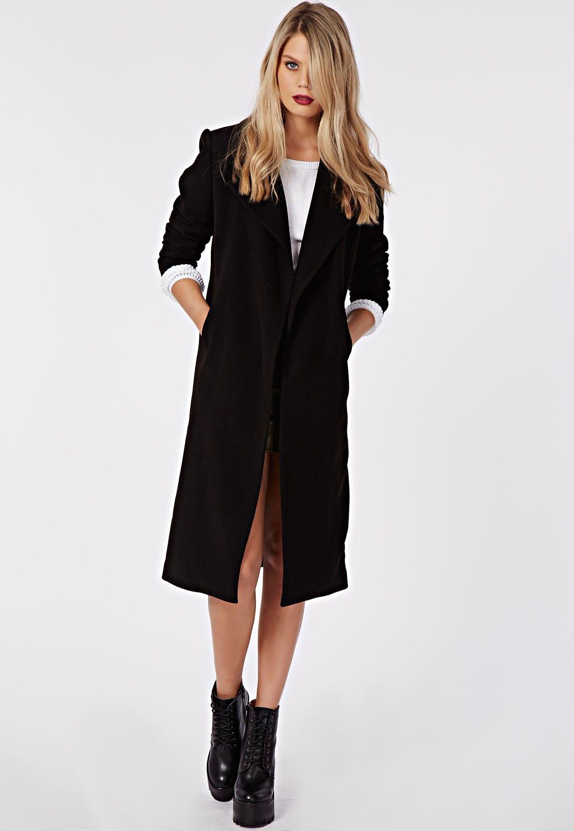 www.fashionmyloveitaly.com Khloe Premium Waterfall Coat Black ...