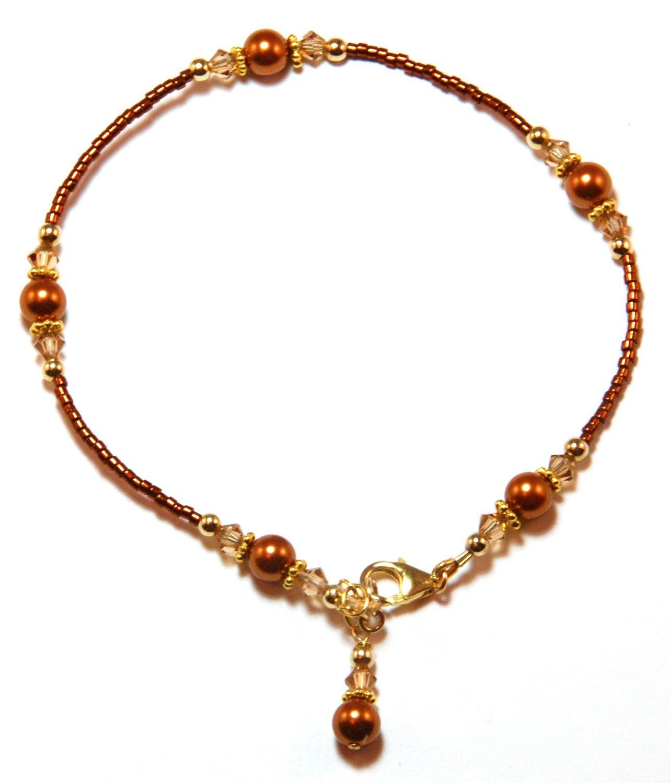 copper ankle bracelets | Copper Pearl Gold Filled Ankle Bracelet by Denistrings on Etsy