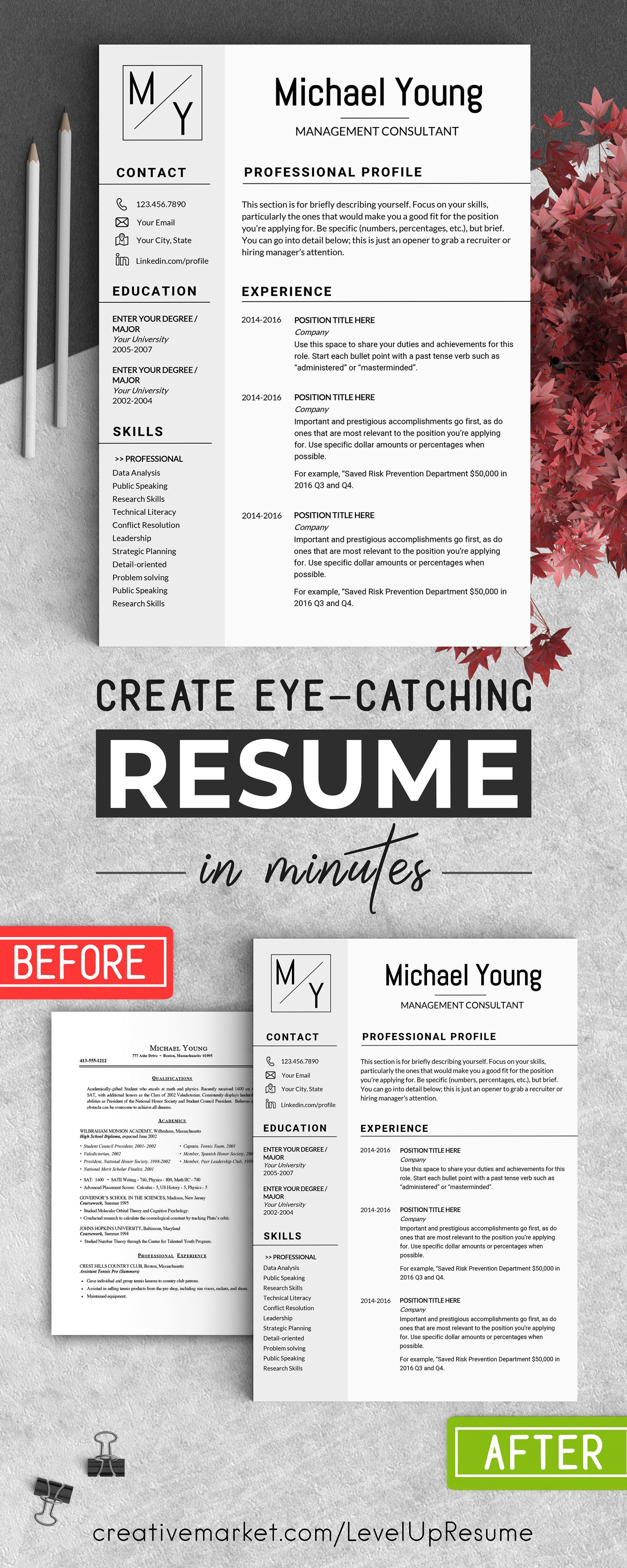 Professional Resume CV Template by LevelUpResume on @creativemarket ...