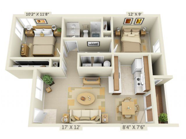2 bedroom 1 bath 803 sq ft apartment martinazzi for 1br apartment design ideas