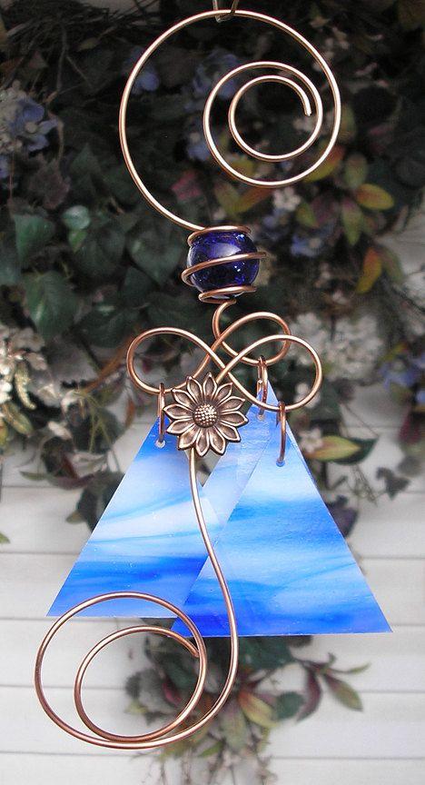 Copper Garden Art | Daisy Wind Chimes Copper Garden Art Sculpture Stained Glass…