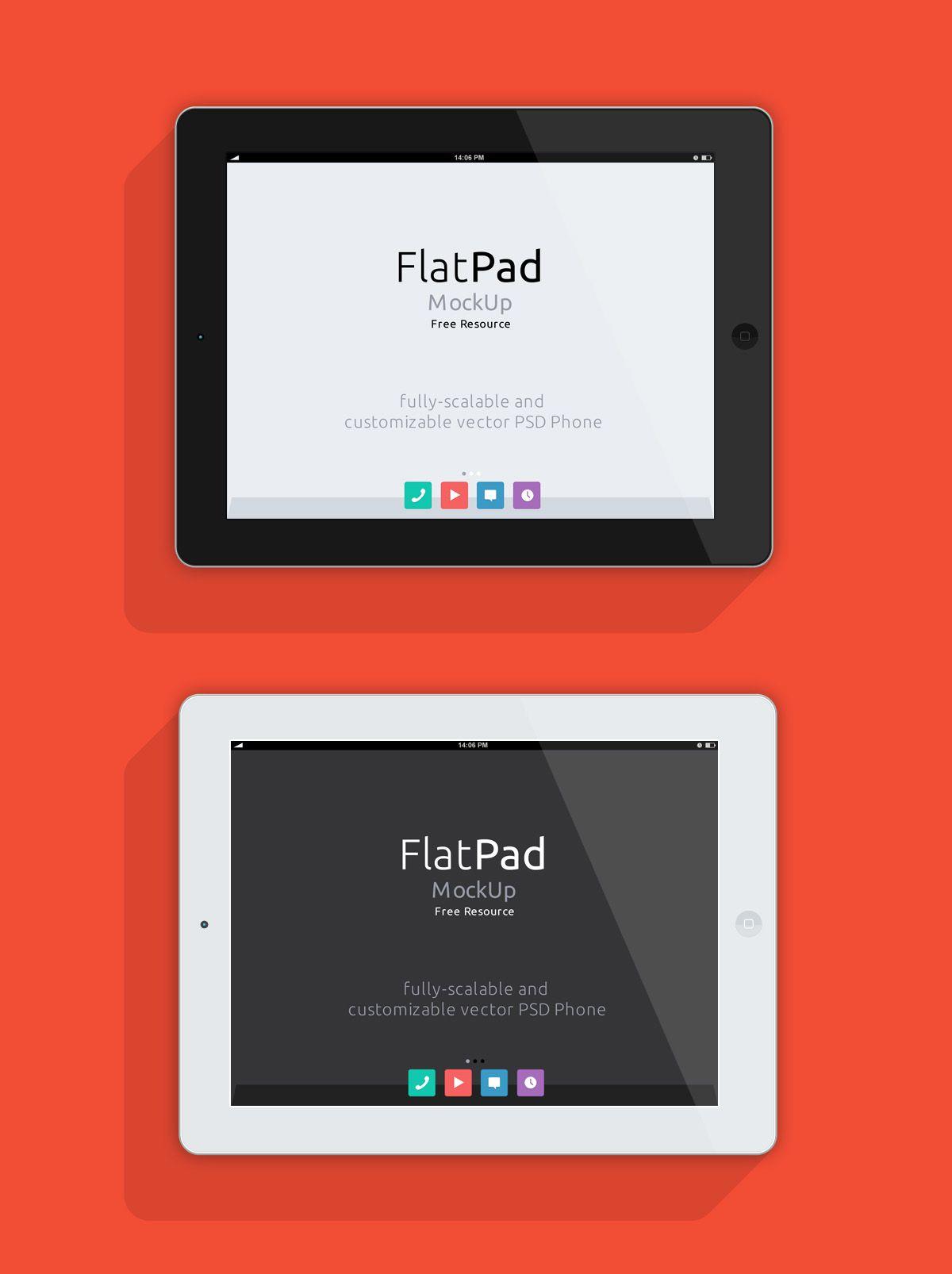 iPad Flat Mock-Up - Landscape (PSD) | Free landscape ...