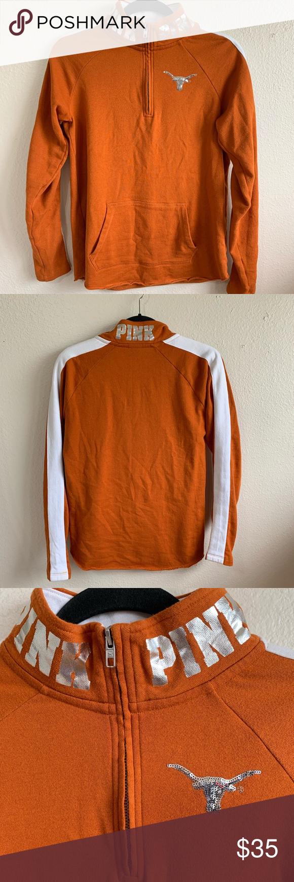 PINK longhorns UT zipper pull over sweater Sweaters