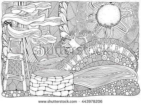 Coloring Book Page For Adult And Children Black White Vector Pattern South Africa