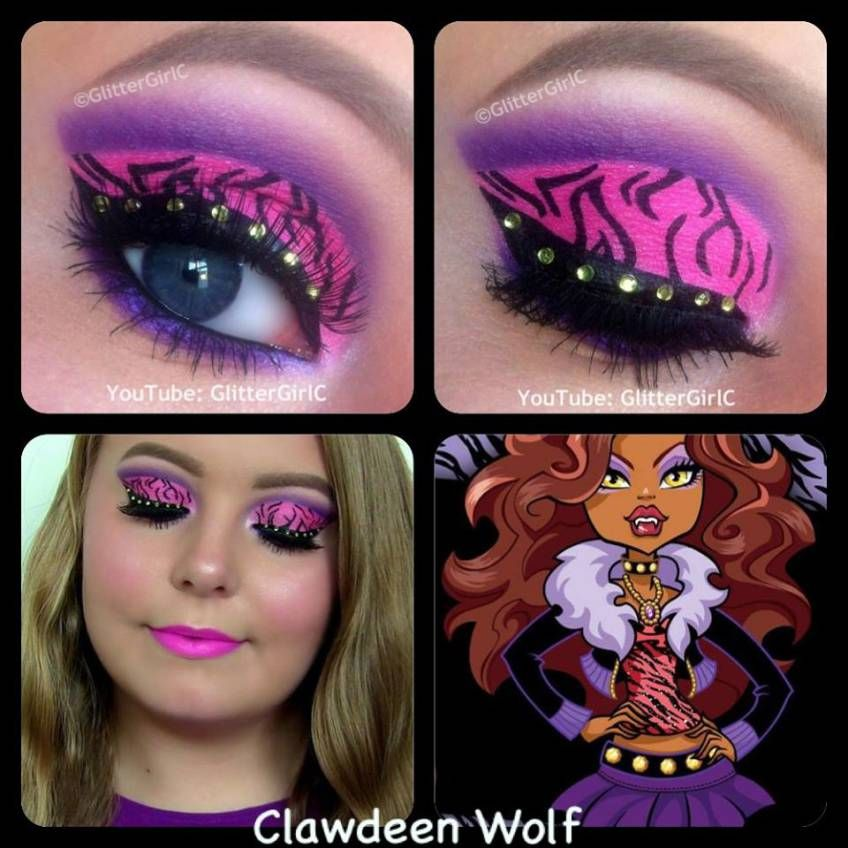 Monster high clawdeen wolf makeup look costume eye makeup - Clawdeen wolf pyjama party ...