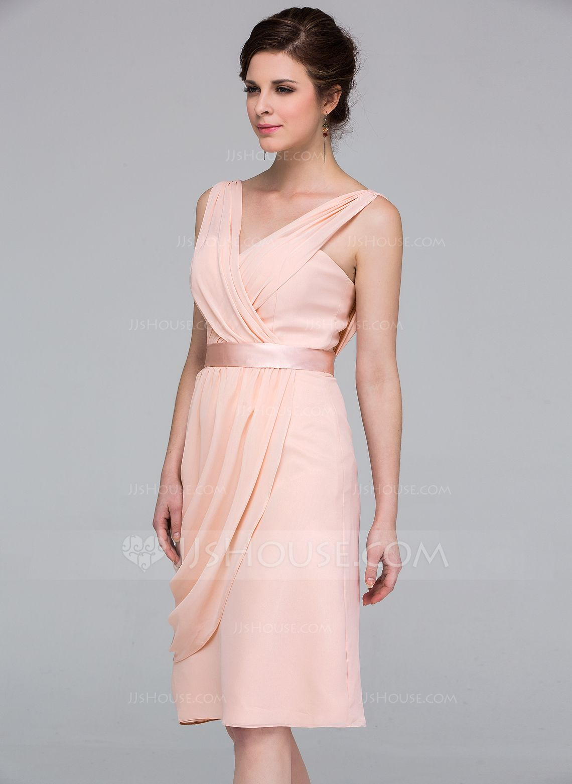 Column Knee-length Chiffon Bridesmaid Dress with Side Draping ...