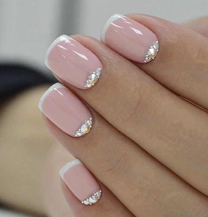 Pink French Nail Art With Jewels