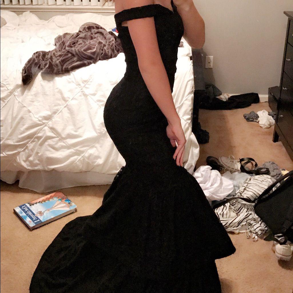 Black windsor mermaid lace prom dress products pinterest