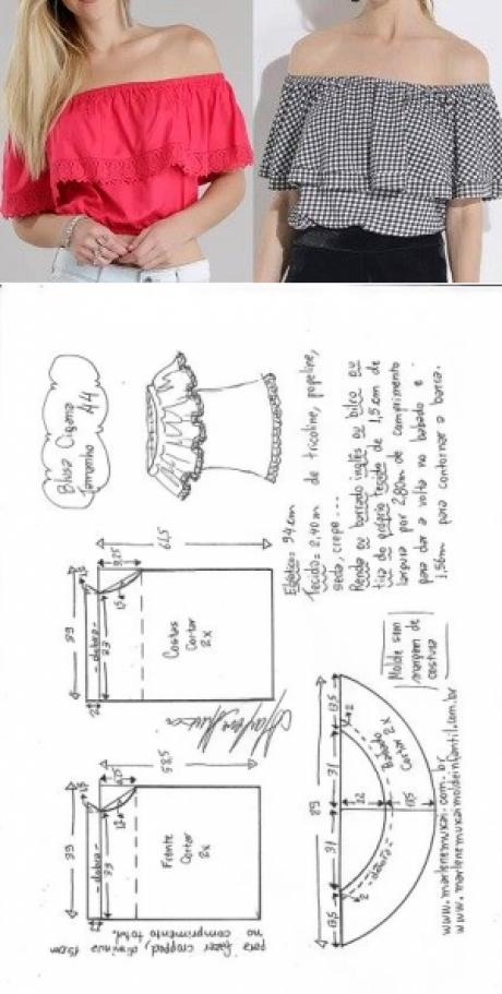 Blusa cigana  DIY  molde corte e costura  Marlene
