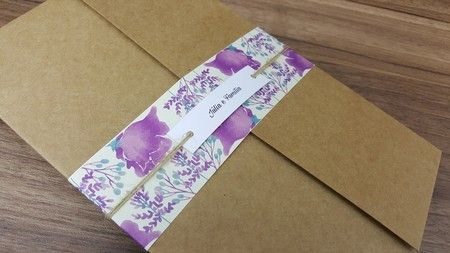 Convite de Casamento Kraft Floral - Convite de Casamento