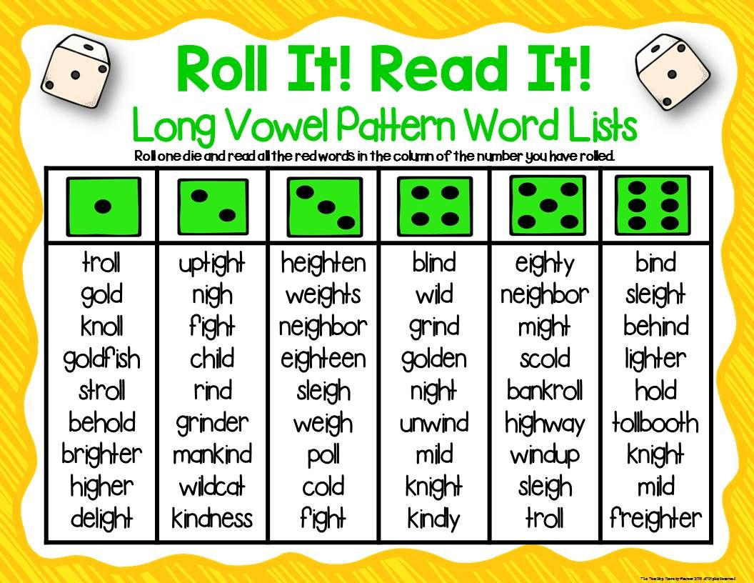 Three Ready-Made Long Vowel Patterns Dice Games for K-2nd [ 816 x 1056 Pixel ]